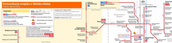 Schemat sieci MZK w Bielsku-Białej – 21 grudnia 2015