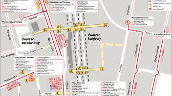 Mapka węzła komunikacyjnego wokół dworca kolejowego i autobusowego w Bielsku-Białej