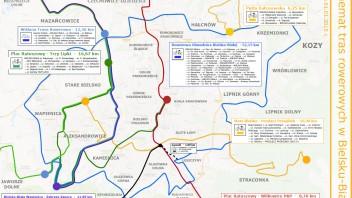 Bielsko-Biała: Schemat tras rowerowych