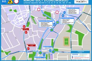Bielsko-Biała: Objazdy w związku z zamknięciem ul. Stojałowskiego [linie: 2, 22, 26, 27, 35, 35L, 35S, 37, N2] [SCHEMAT]